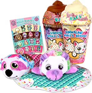 """Basic Fun Cutetitos Babitos 2-Pack (5"""" Each) Furry Baby Friends - Ice Cream Series - Collectible Surprise Stuffed Animals Plush - Ages 3+ - Series 2 - Great Gift for Girls & Boys"""