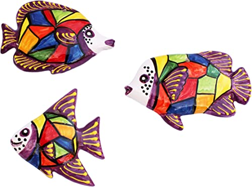 Cactus Canyon Ceramics Spanish 3-Piece Fish Wall Hanger Set, Picasso