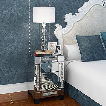Mesitas de noche dormitorio espejos cristal auxiliar salon baratas modernas plateado sin patas economicas juveniles pequeñas