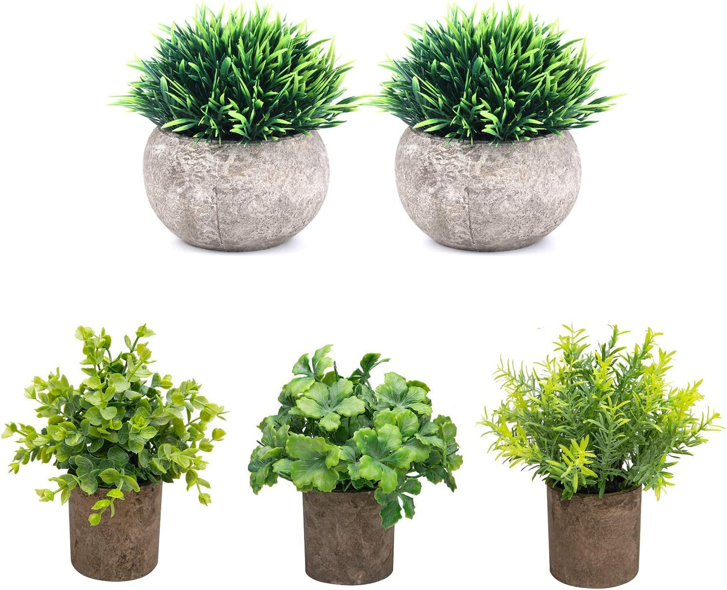 THE BLOOM TIMES Set of 5 Small Fake Plants Plastic Rustic Faux Potted Greenery Eucalyptus Boxwood Artificial Plants in Pots for Home Office Desk Farmhouse Bathroom Kitchen Shelf Indoor Decor