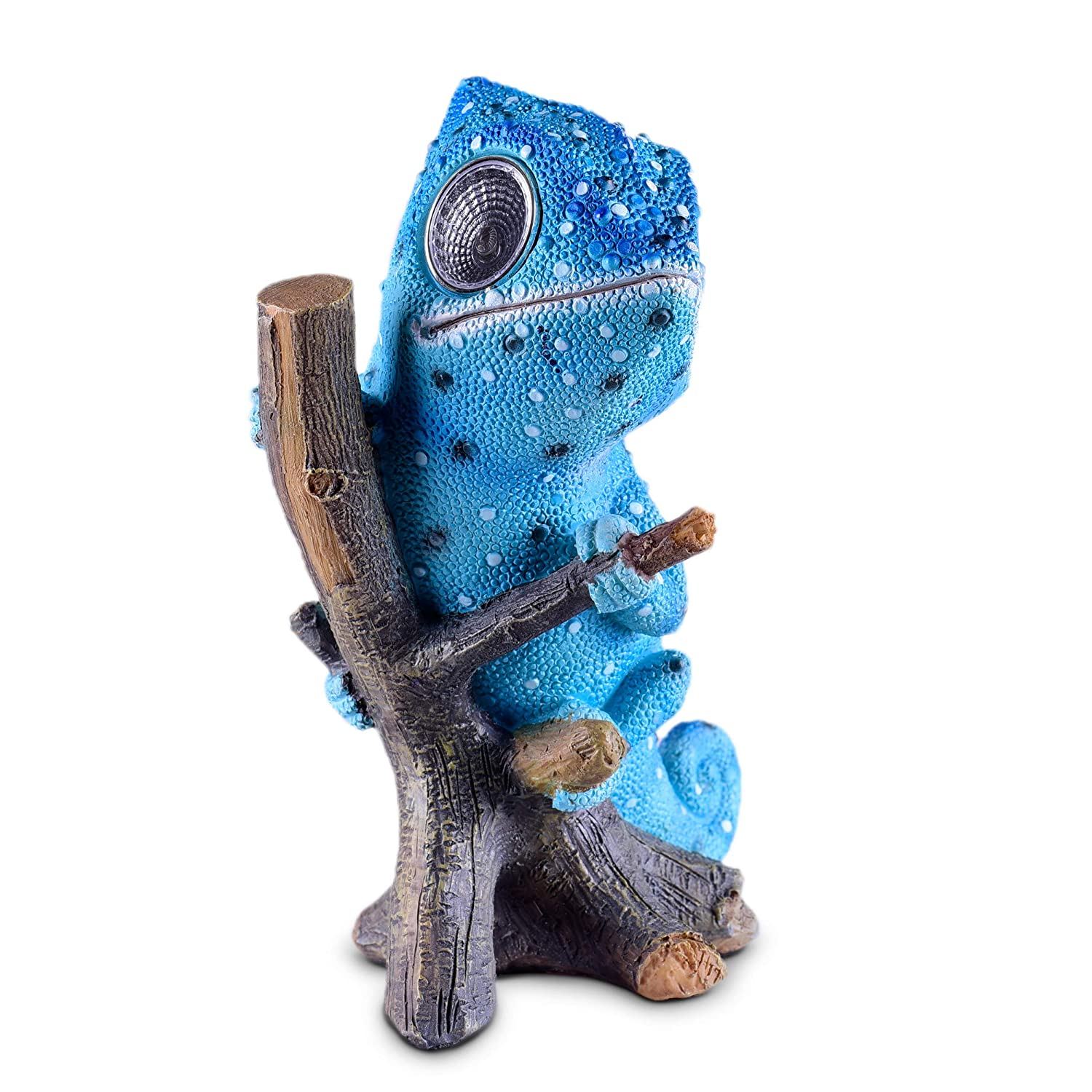 Solar Garden Decor Chameleon Figurine | Lawn and Yard Decorations | Outdoor LED Animal Figure | Light Up Decorative Statue Accents Patio, Balcony, Deck | Great Housewarming Gift Idea (Blue, 1 Pack)