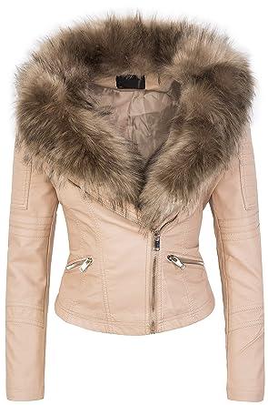 Designer Damen Winter Jacke elegant Kunstfellkragen Übergangsjacke S-XL D-362   Amazon.de  Bekleidung cf976824ca