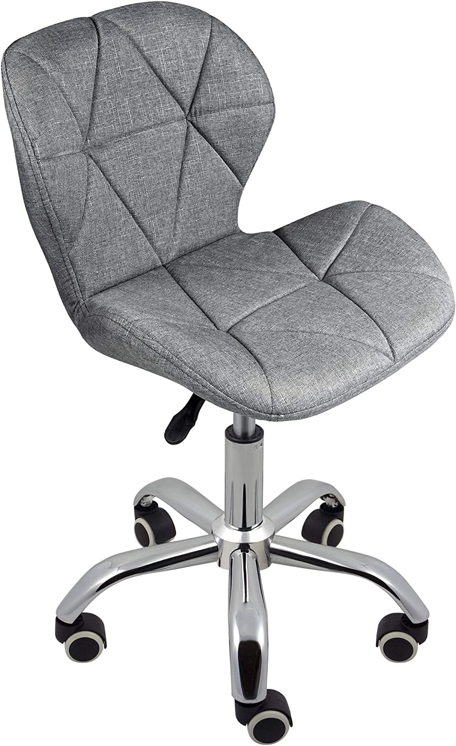 Charles Jacobs Dining//Office Swivel Chair with Chrome Legs with Wheels and Lift Grey Fabric