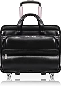 "McKlein, P Series, Franklin, Top Grain Cowhide Leather, 15"" Leather Patented Detachable Wheeled Laptop Briefcase, Black (86445)"