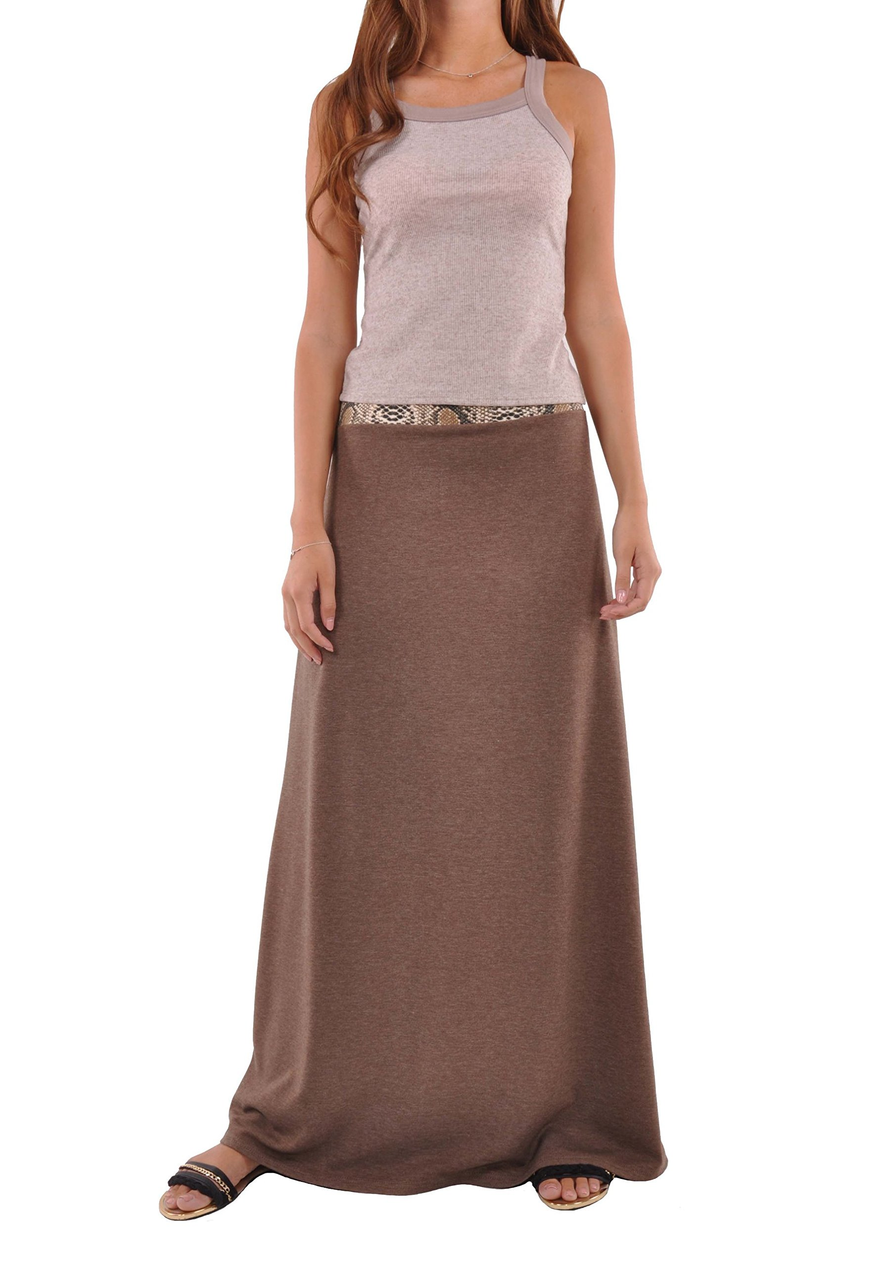 Style J Jersey Brown Maxi Skirt-Brown-32(12)