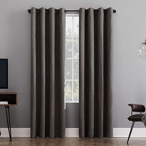 Sun Zero Patina Crosshatch Jacquard Thermal Extreme 100 Blackout Grommet Curtain Panel, 52 x 95 , Gray