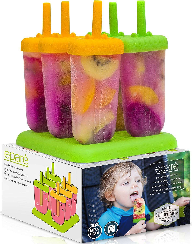 Eparé Popsicle Molds Set - Kids Frozen Pops Maker - BPA Free Ice Cream Bar Tray - Large Reusable Homemade Freezer Treats