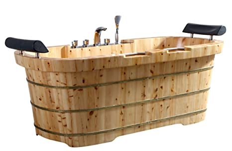 2 Person Freestanding Tub.Alfi Brand Ab1130 65 2 Person Free Standing Cedar Wooden Bathtub With Fixtures Headrests Natural Wood