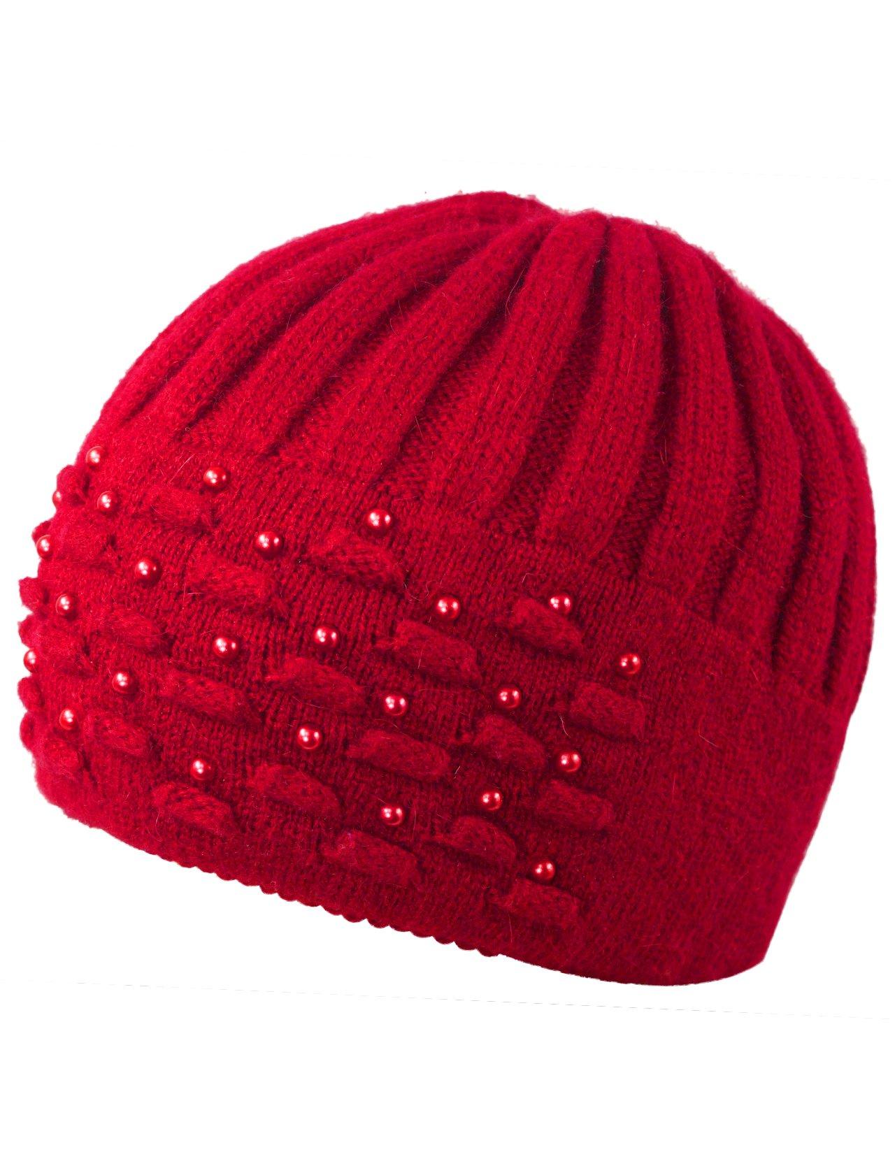 Dahlia Women's Angora Blend Beanie Hat - Dual Layer Pearl Accent Edge - Red