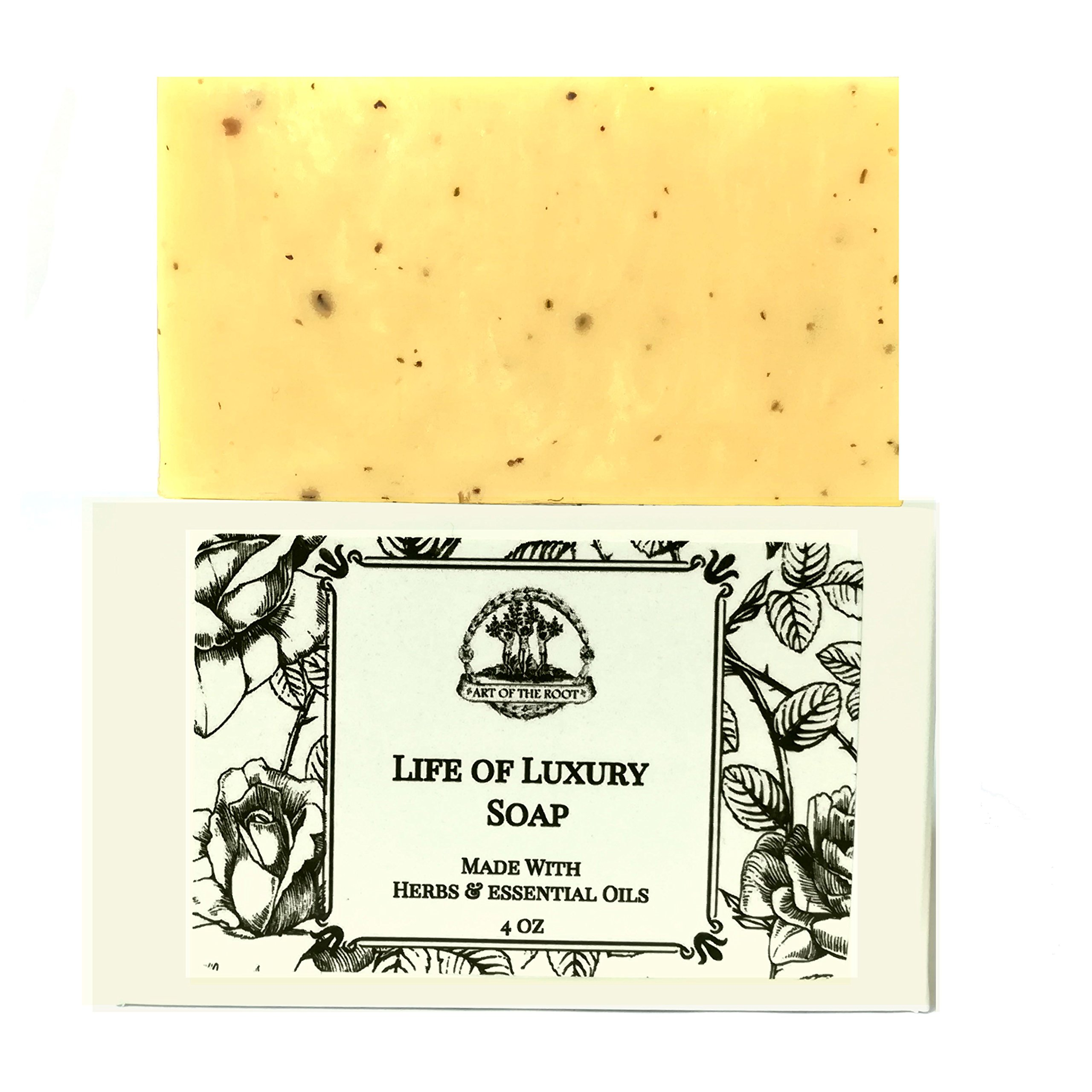 Life of Luxury Shea Herbal Soap Bar Handmade For Riches, Wealth, Money, Business Growth & Prosperity Hoodoo Wiccan Pagan Conjure Magick