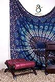 Tapestry regina verde Double Peacock Hippie Arazzo Mandala Bohemian psichedelico intricato indiano copriletto 233,7 x 208,3 cm Aakriti Gallery (Blue)