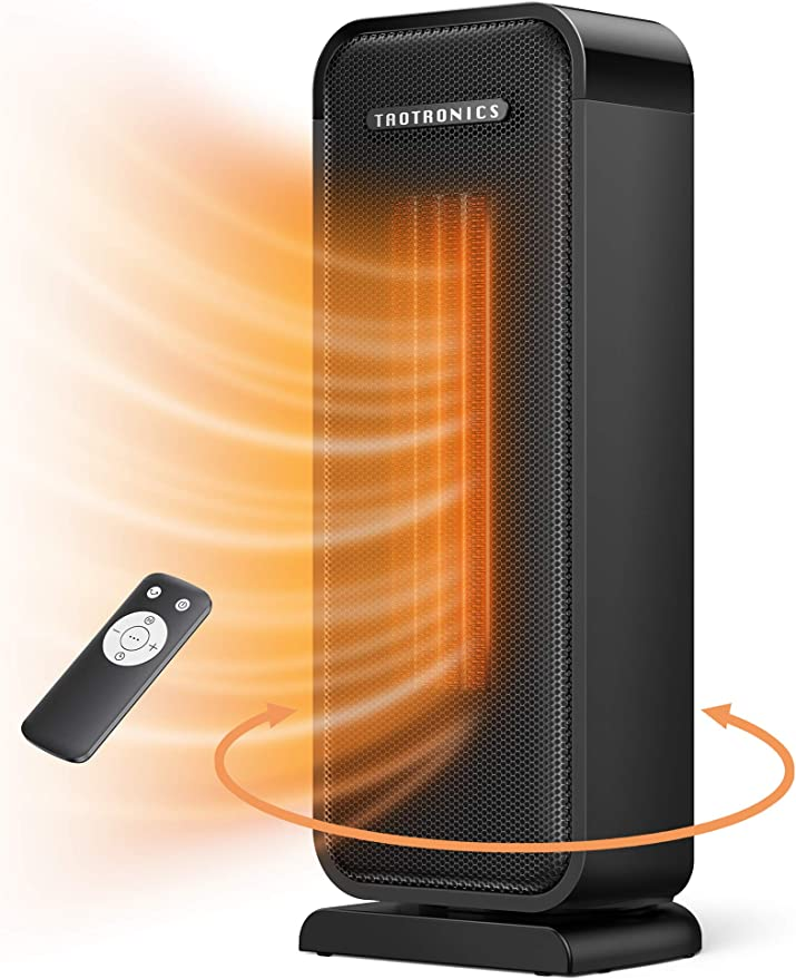 best bathroom heater: Taotronics TT-HE001 Space Heater, 1500W Electric Portable Fast Heating Widespread Oscillation ECO Mode 12 Hrs Timer with Remote Control for Indoor Use Home, Small, Black