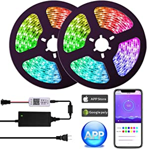 UMICKOO Dream Color LED Strip Lights with APP,10m/32.8feet Waterproof Strip Lights with Built-in Digital IC,300 LEDs SMD 5050 Flexible LED Lights for Home Kitchen Christmas