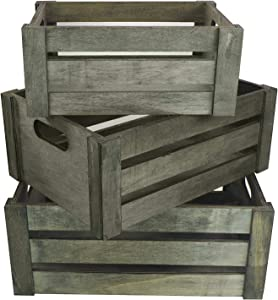 Admired By Nature Home Décor Nesting Organizer Wooden, ABN5E083-SG Set of 3 Rectangle Gift Wood Crates, B. Stain Grey Storage Container