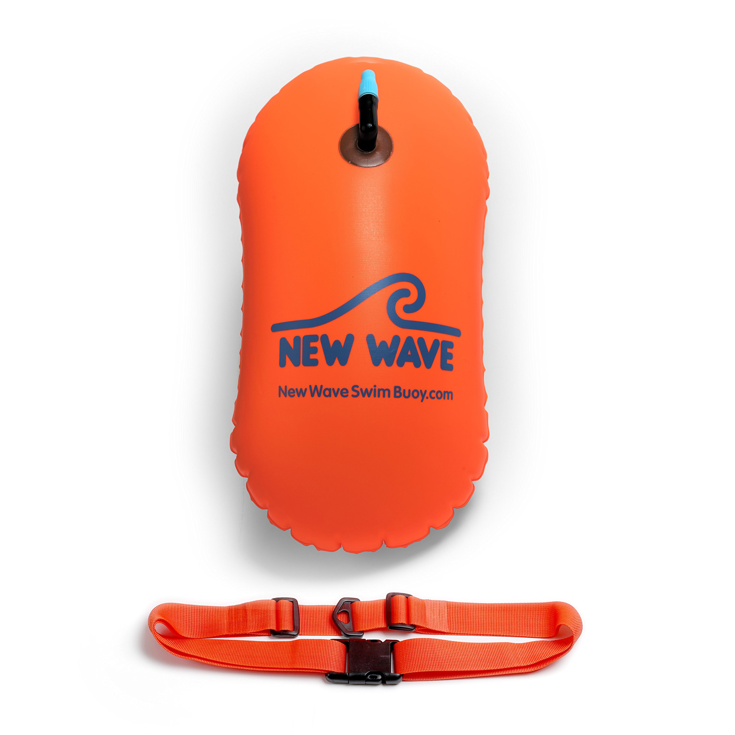 New Wave Swim Bubble for Open Water Swimmers and Triathletes - Swim Safety Buoy Float (Orange) by New Wave Swim Buoy
