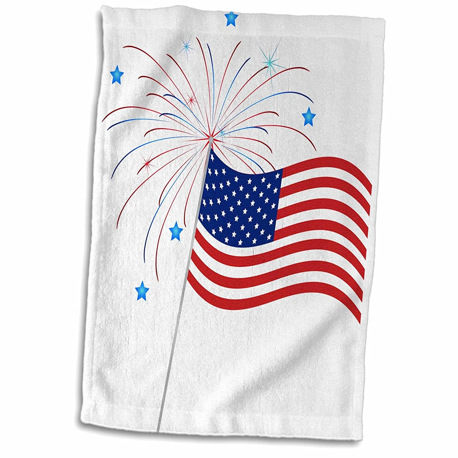 3D Rose Illustration of an American Flag with Fireworks and Stars TWL/_213630/_1 Towel 15 x 22 Multicolor