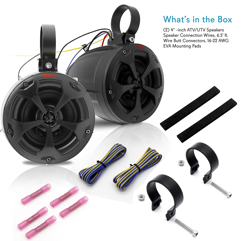 Pyle PLUTV41BK Quad Full Range Outdoor Audio Stereo Speaker for ATV 2-Way Dual Waterproof Off-Road Speakers Black UTV Jeep Boat 4 Inch 800 Watt Marine Grade Wakeboard Tower Speakers System