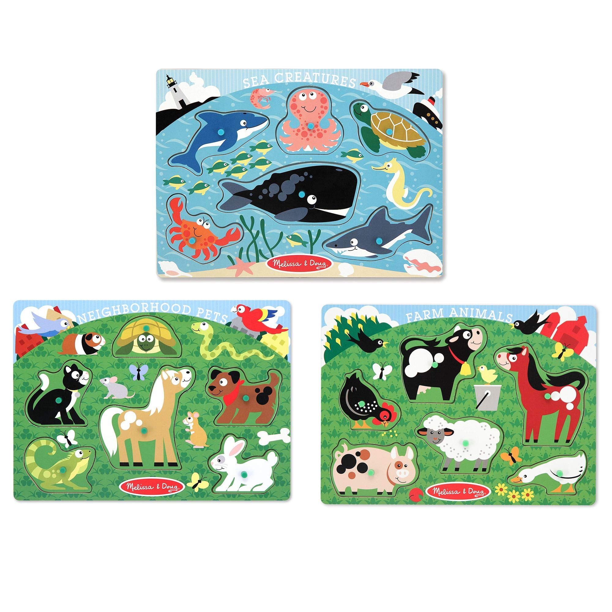 Melissa & Doug Peg Puzzles Set, Farm Animals, Pets, Ocean (Developmental Toy, Easy to Grasp, 3 Peg Puzzles, Animal Illustrations, 6 Pieces in Each) by Melissa & Doug