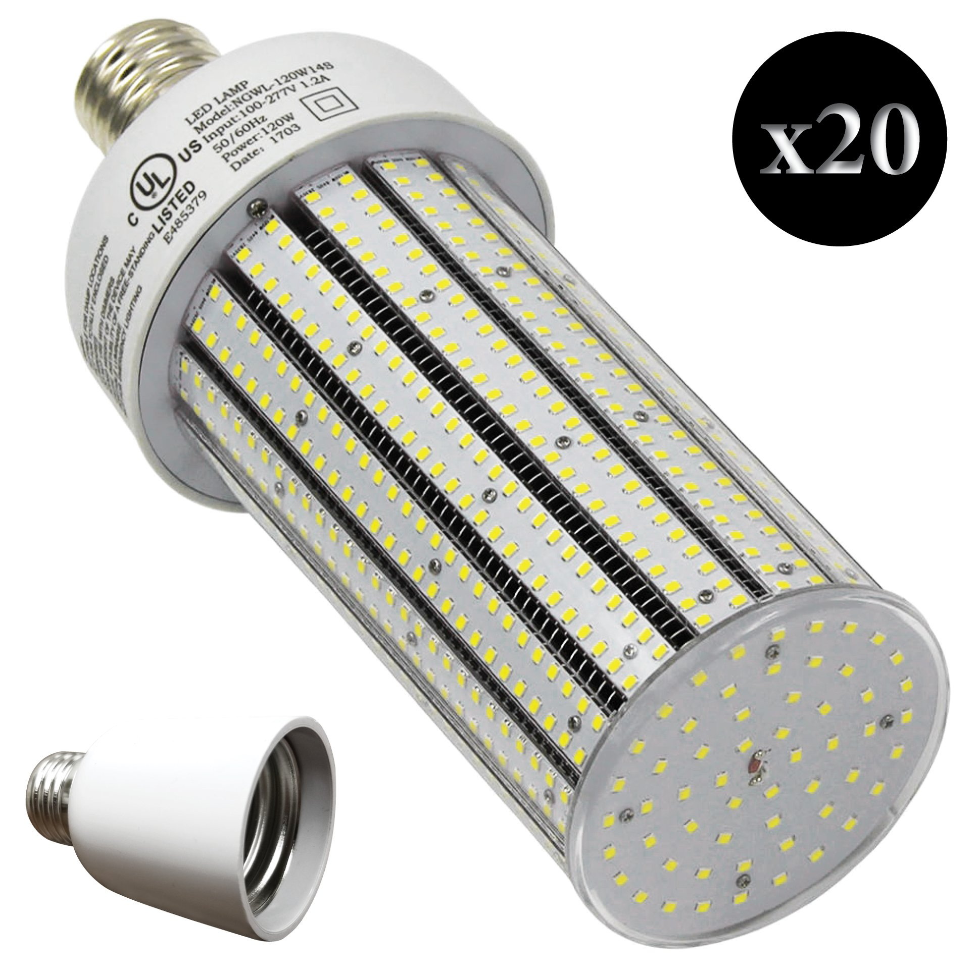 QTY 20 CC120-39 + 20 Adapters LED HIGH BAY SUPER BRIGHT INDUSTRIAL LED LIGHT E39 6500K WHITE 120W (EQUIVALENT TO 720W)