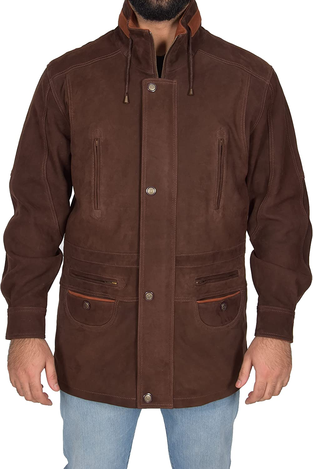 Mens Leather Parka Car Coat Classic Overcoat Mid Length Jacket Jason Brown Nubuck
