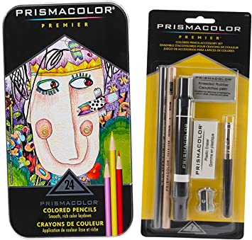 Prismacolor Premier Colored Pencils Soft Core 24 Ct /& 7 Piece Accessory Set