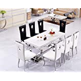 c356945e9655 Avant Garde Round Glass Top White Gloss Dining Table + 8 Ice Grey ...