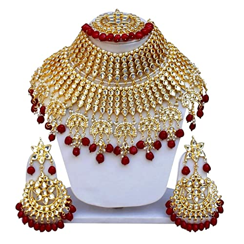86a65d8cef2 Image Unavailable. Image not available for. Colour  Gemsjewellery Reddish Gold  Plated Kundan Necklace Set for Women