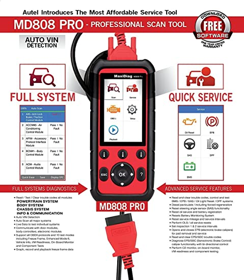 Autel MaxiDiag MD808 Vehicle Scan Tool