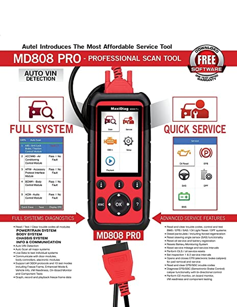 Autel MD808 Pro offers All-system Diagnosis and a lot of Service Functions.