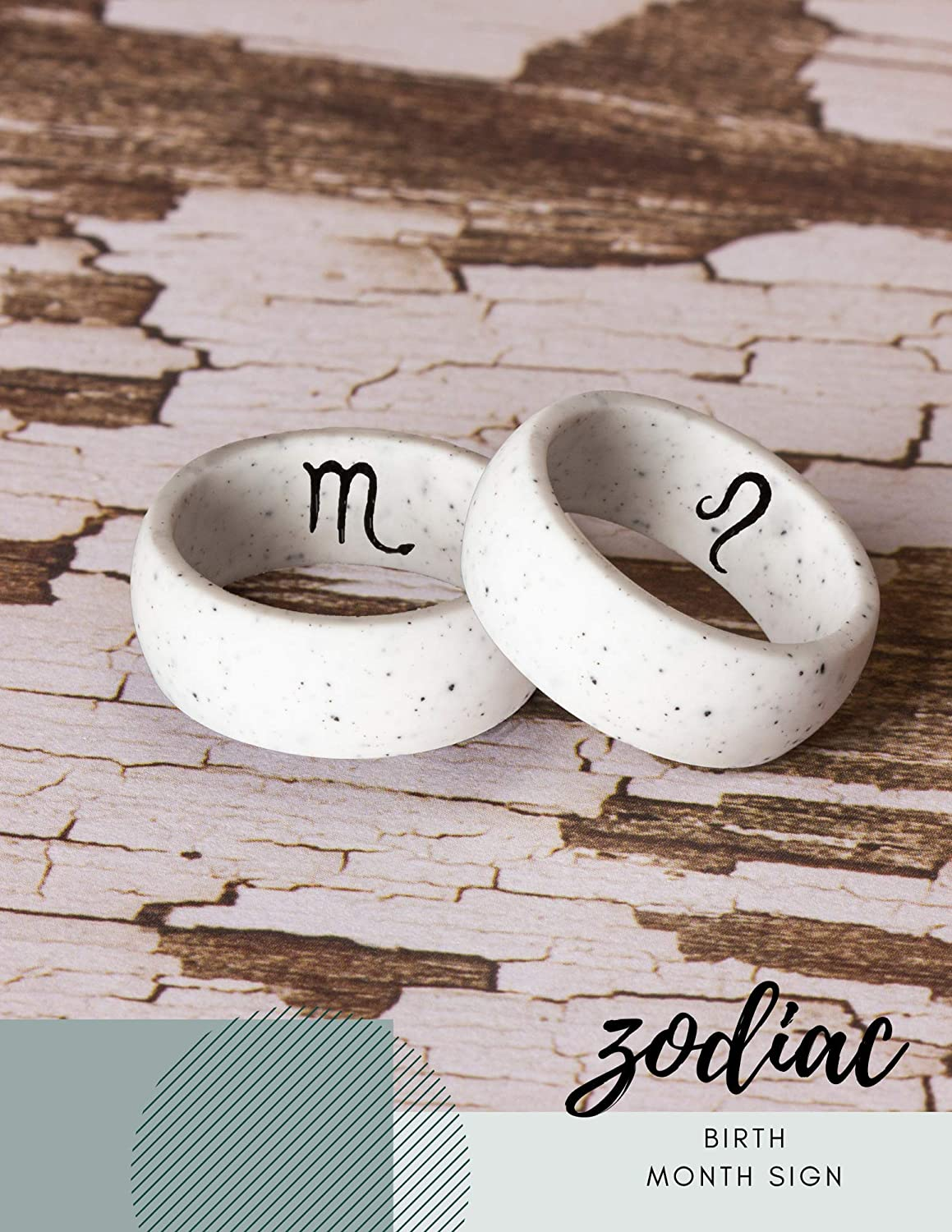 promise ring Breathable Rubber Couple Jewelry -Engagement rings Silicone Ring Wedding Band with Birth Month Zodiac Sign Engraving Non-Metal Rings for Men /& Women White Anniversary /& workout bands