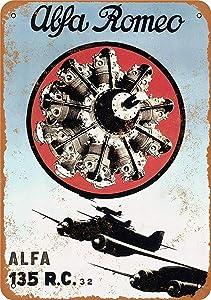 "Lplpol Metal Sign Alfa Romeo Aircraft Engines Vintage Wall Decor Home Decor 10"" x 14"""