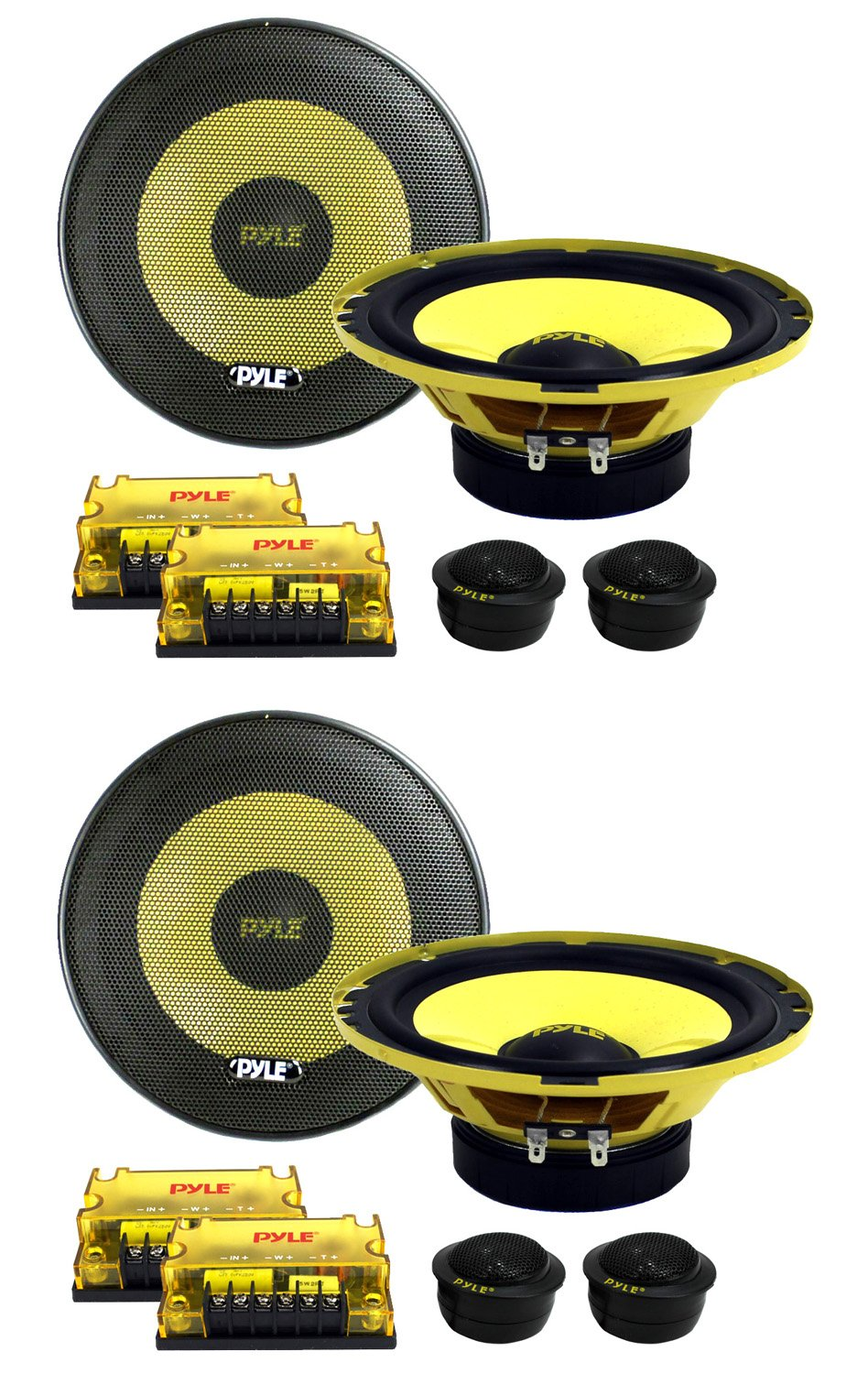 4) New PYLE PLG6C 6.5'' 800W 2 Way Car Audio Component Speakers Set Power System