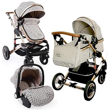 Carro bebé 3 piezas, capazo + silla de paseo + silla de coche + accesorio. Desde nacimiento hasta los 3 años. BBtwin Gala trio 3en1 beige.