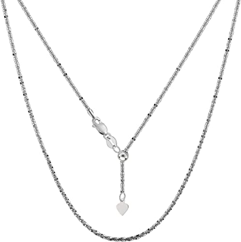 "14k White Gold 22/"" Adjustable Snake Pendant Chain//Necklace   3 gram"