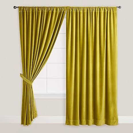 Lemon Gold Thick Velvet Curtains
