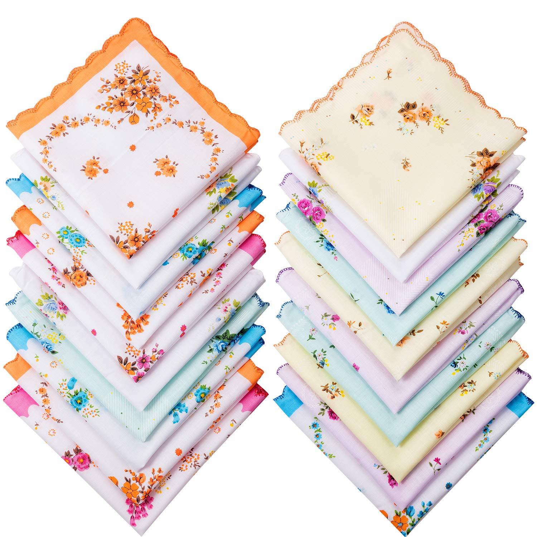 Zhanmai 20 Pezzi Donne Cotone Stampa Floreale Vintage Fazzoletti da Donna Colorati