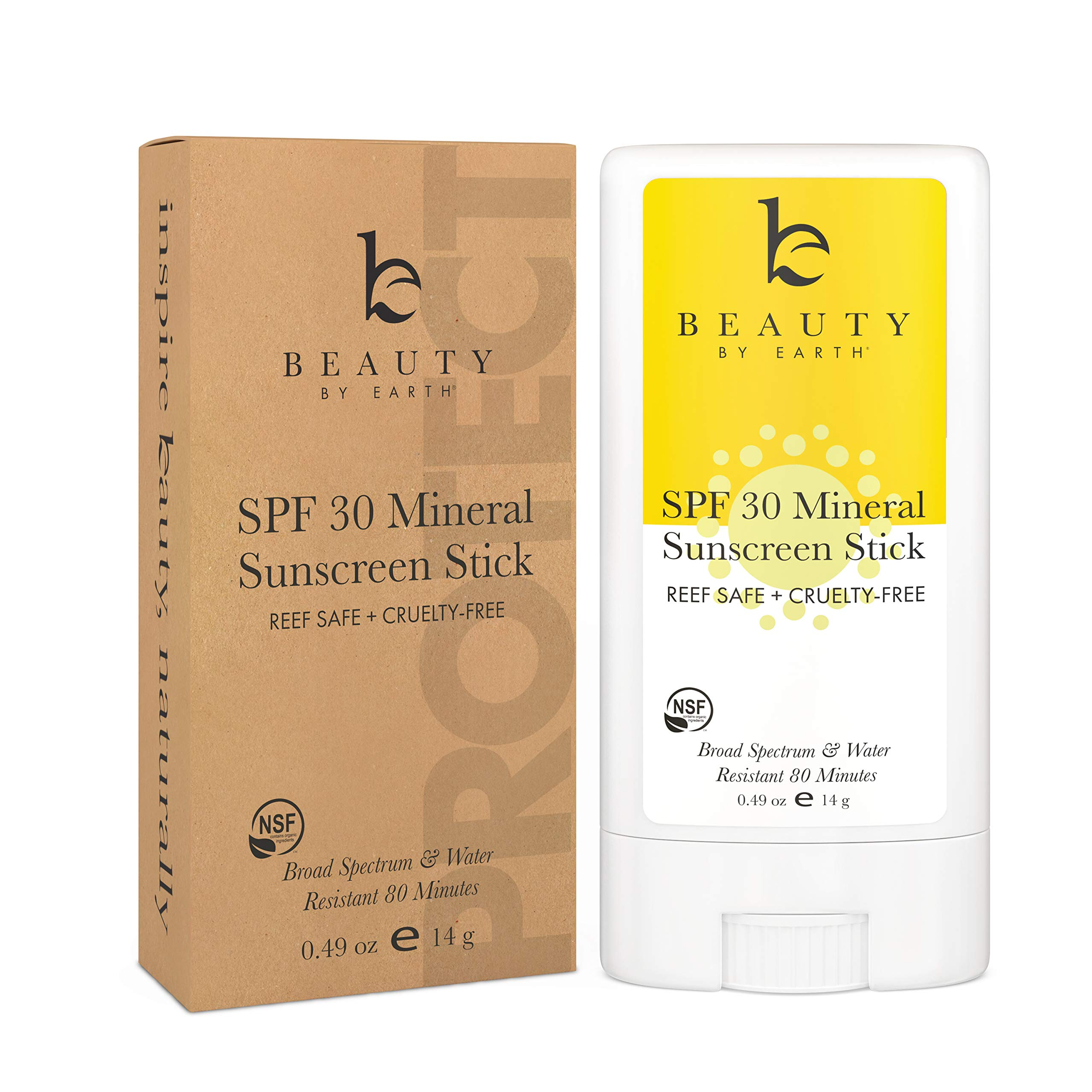 Mineral Sunscreen Stick - SPF 30 Zinc Oxide Sunscreen Lotion Stick Made with Organic Ingredients, Best Sun Protection Travel Sunscreen Face and Body, Reef Friendly Sunscreen, Water Resistant