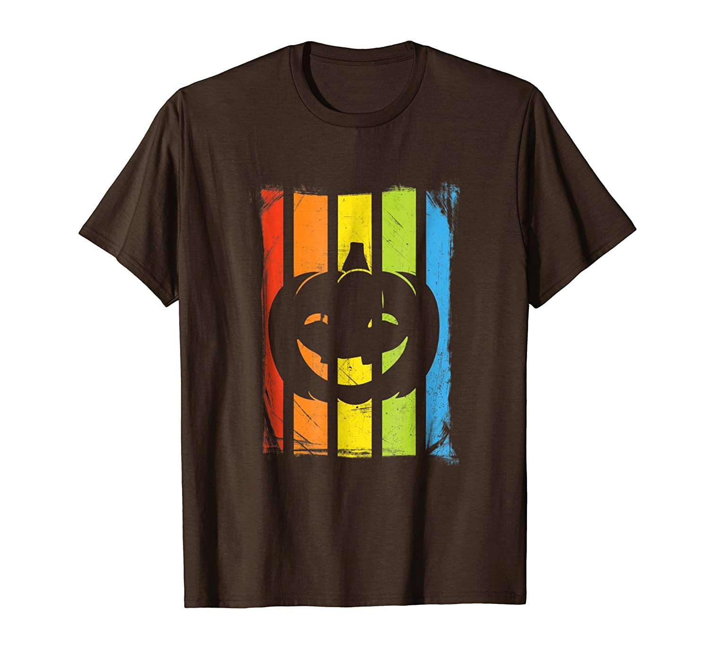 Cool Halloween Pumpkin T-Shirt | Rainbow Distressed Design-Rose