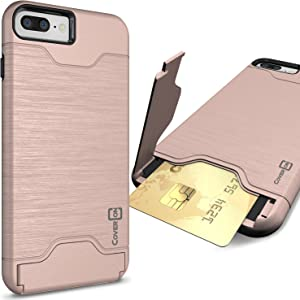 CoverON [SecureCard Series] Fit iPhone 8 Plus Case with Card Holder, iPhone 7 Plus Case, Protective Hybrid Cover with Card Slot and Kickstand Case for Apple iPhone 8 Plus/iPhone 7 Plus - Rose Gold