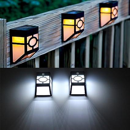 Lamparas Solares Impermeable con Sensor de Movimiento, Focos LED Exterior para Jardin Casa Camino Escaleras