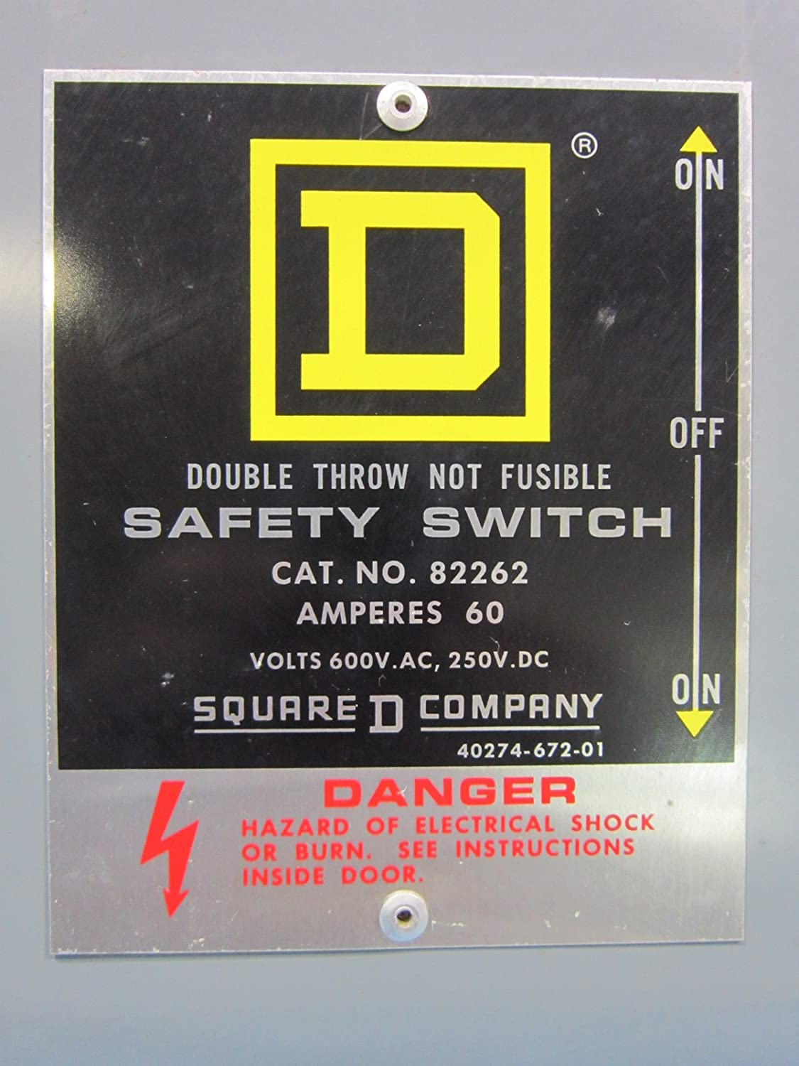 Hubbell Manual Transfer Switch How To Troubleshooting Install A Square D 82262 Double Throw Safety 60 Amp 600v Rh Amazon Com For Portable Generator 3 Phase