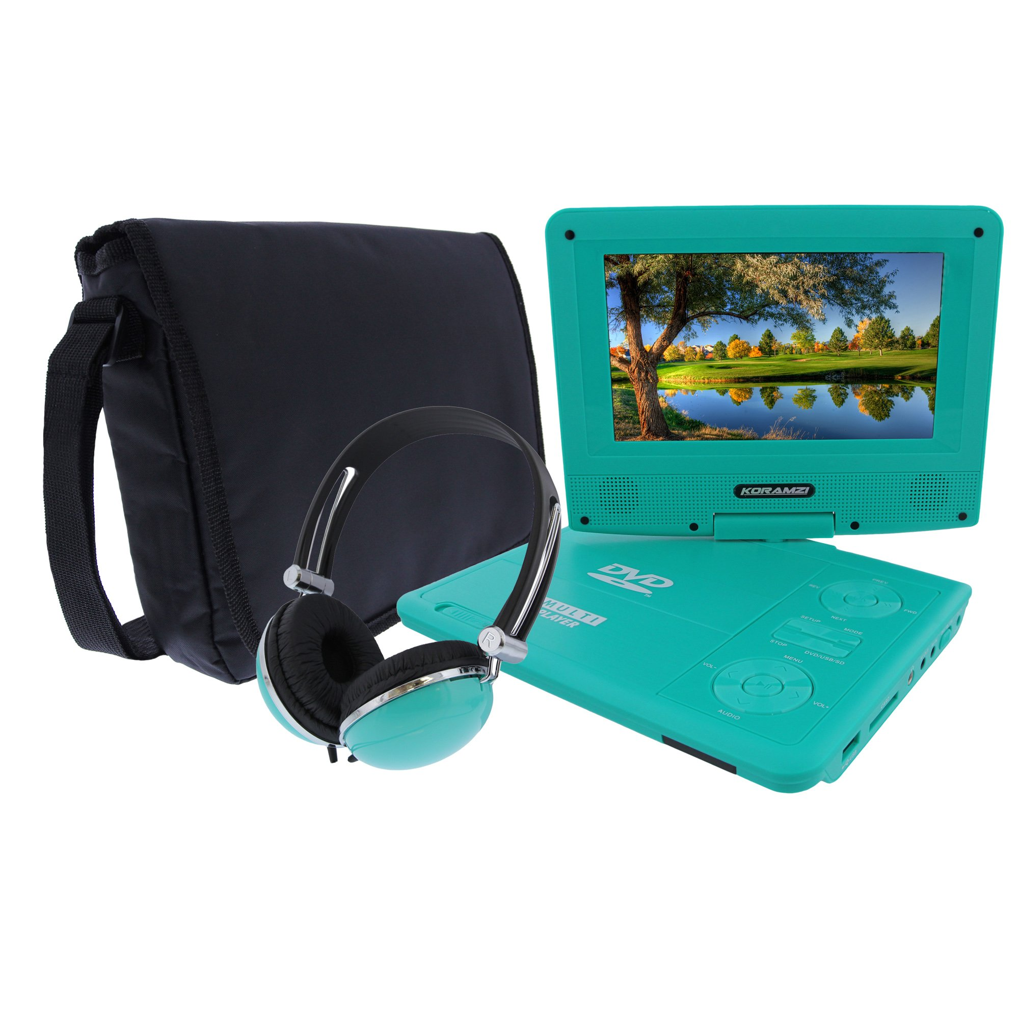 KORAMZI 7 inch Portable DVD Player with Rechargeable Battery, SD Card Slot and USB Port Swivel and Fold Portable DVD/CD/MP3 Player with Matching Color Headphones AC/DC Adapter (Green)- PDVD777