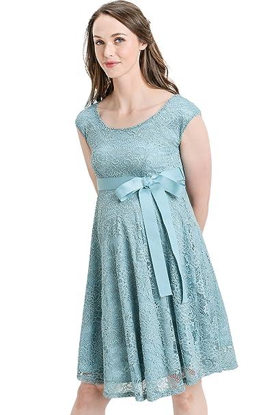 Hello MIZ- Vestido de Fiesta de Maternidad con Encaje Floral y Cintura - Azul -