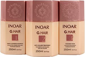 INOAR PROFESSIONAL - G-Hair Keratin Smoothing System with Deep Cleansing Shampoo, Anti-Volume Treatment & Finishing Mask (8.45 fl. oz.)