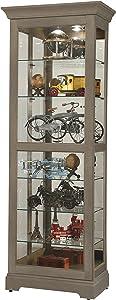 Howard Miller Martindale VI Curio Cabinet 680-637 – Aged Grey Finish Home Decor, Six Shelves, Seven Level Display Case, Locking Slide Door, Halogen Light Switch