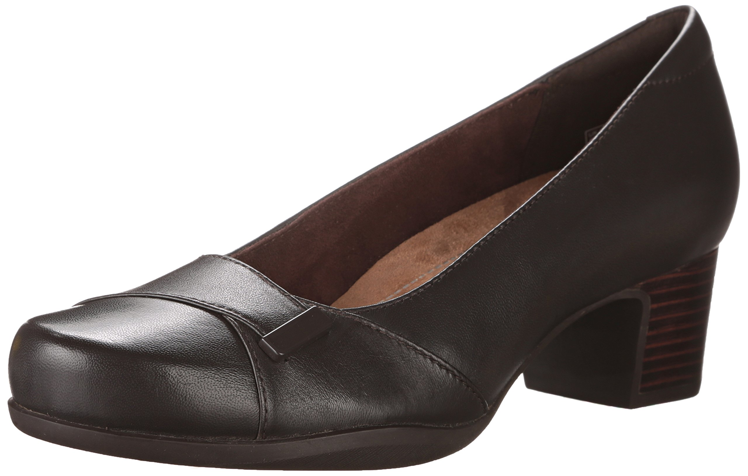 CLARKS Women's Rosalyn Belle Dress Pump, Dark Brown Leather, 10 M US
