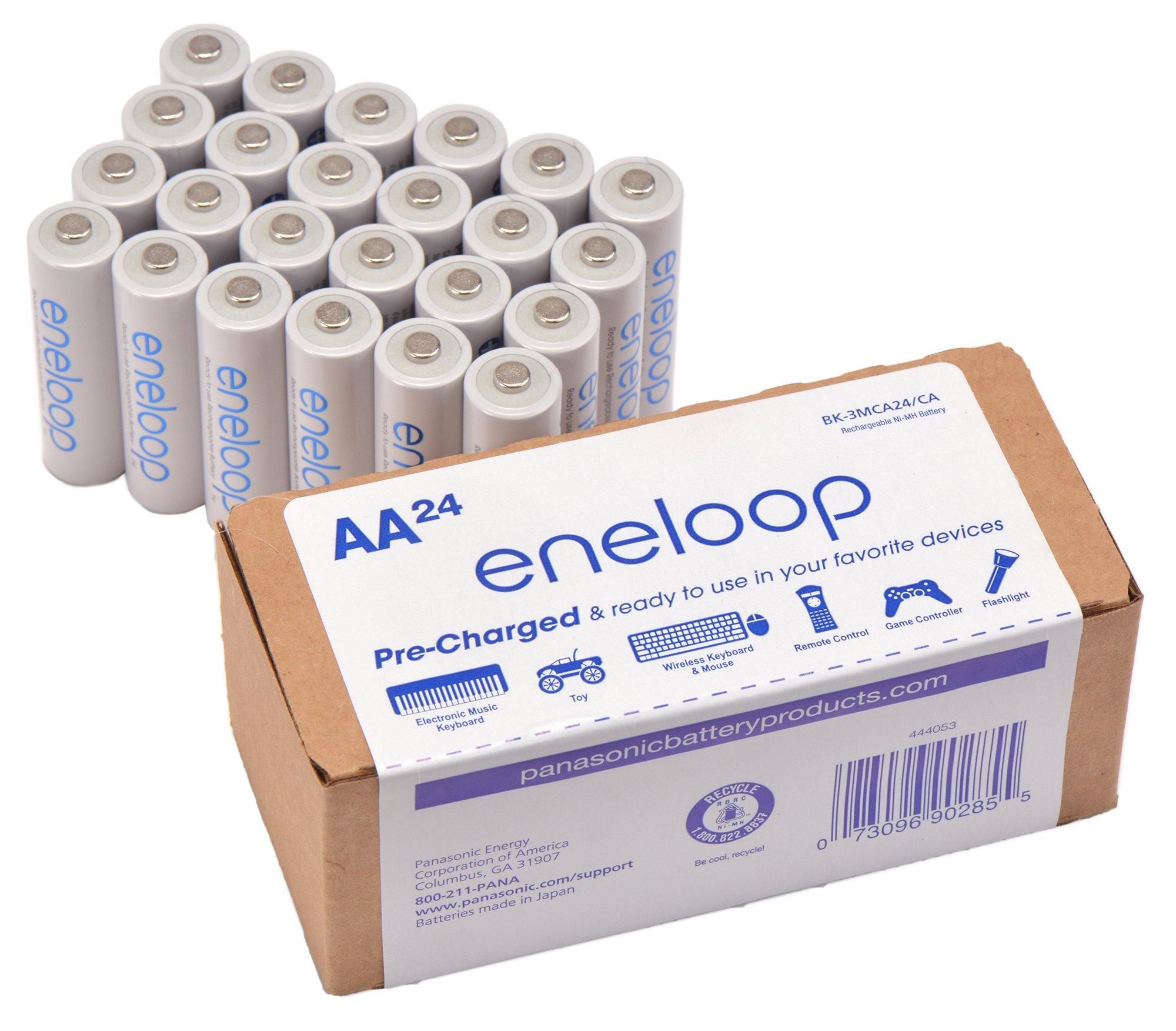 Panasonic BK-3MCA24/CA eneloop AA 2100 Cycle Ni-MH Pre-Charged Rechargeable Batteries 24 Pack by eneloop