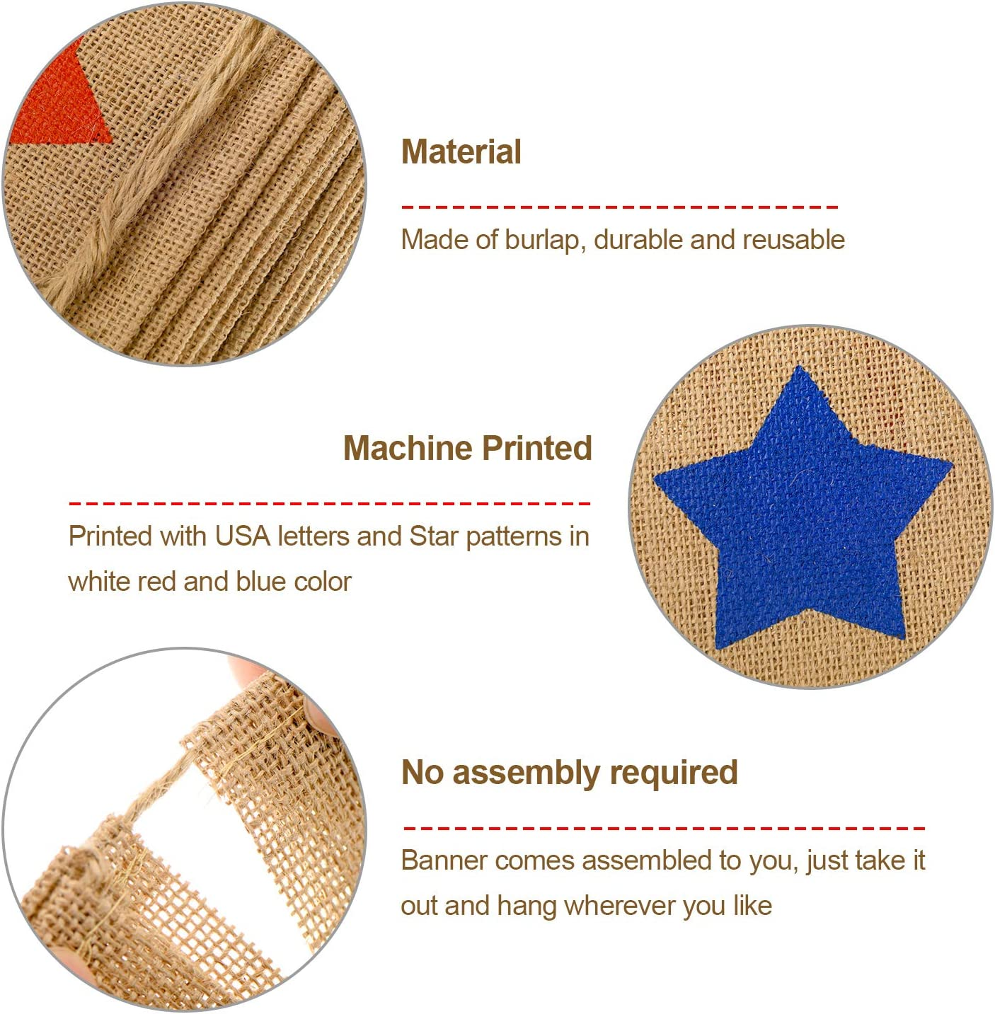 Tatuo 2 Pieces American Burlap Banner Independence Day Decoration USA Patriotic Banner White and Blue Stars Banner for 4th of July Decor Color Set 1