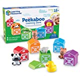 Learning Resources Peekaboo Learning Farm, Counting, Matching & Sorting Toy, Toddler Finger Puppet Toy, Farm Animals Toys, Fi