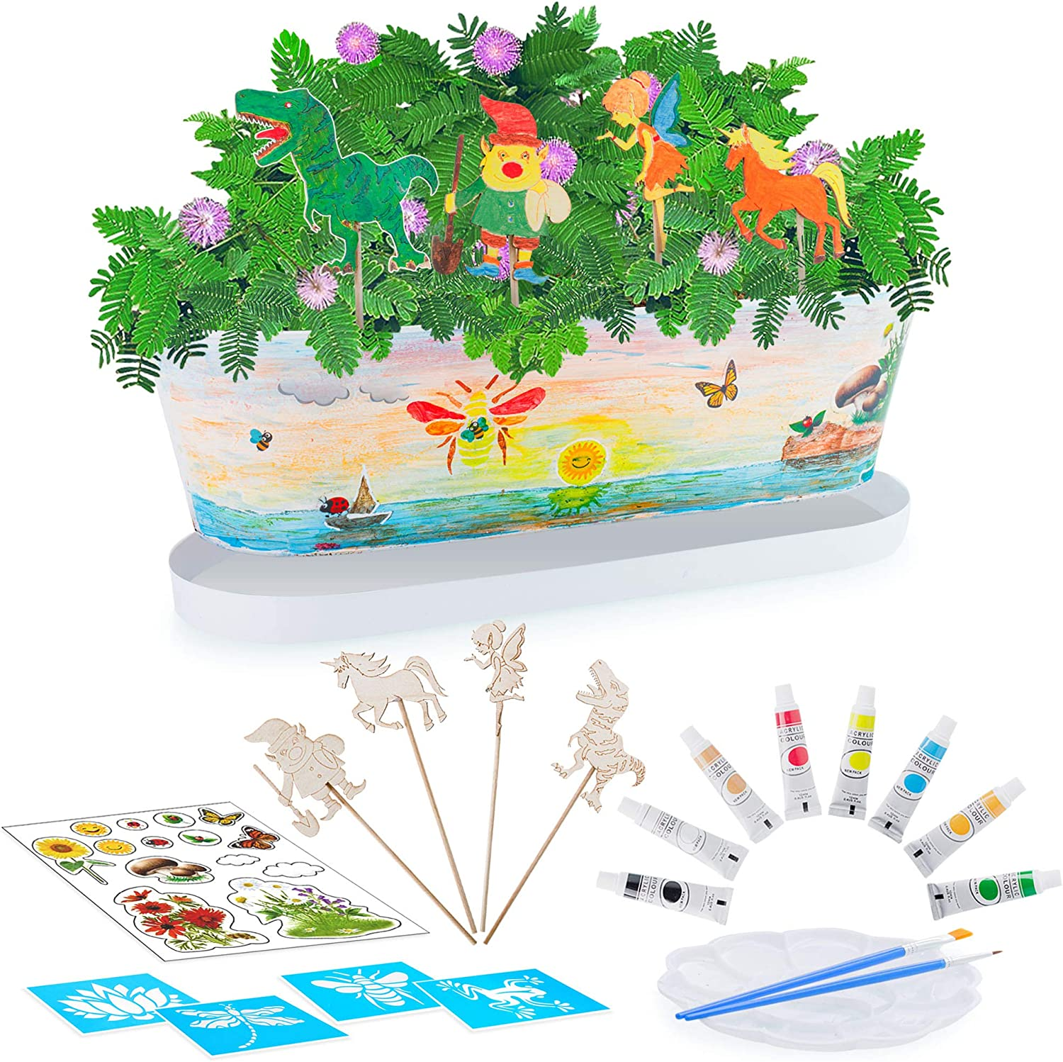 Blooming Toys Magical Moving Kids Planting Kit – All-in-One Fairy Garden Terrarium Kit with 4 Stencils, 4 Wooden Figures, 8 Acrylic Paints, 16 Stickers, 2 Seed Packs – Educational Plant STEM Toys